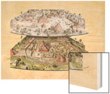 Mayan Settlement of Dos Pilas in Two Views before and after 761 A.D Wood Print by Richard Schlecht