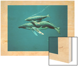 A Humpback Whale and Her Calf Swimming Underwater Wood Print by Richard Ellis