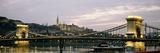 Chain Bridge, River Danube and Matyas Church at Dusk Fotografisk tryk af Design Pics Inc