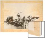 Painting Depicting Pizarro's Horsemen Charging Inca at Cajamarca Wood Print by Herbert Tauss