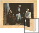 Tunisian Men Sip Coffee and Exchange News in Front of a Shop Wood Print by Franklin Price Knott