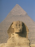 Sphinx in Front of Great Pyramid of Chephren Photographic Print by  Design Pics Inc
