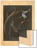 An Illustration Shows a Gulper Eel Capturing and Eating Another Fish Wood Print by Else Bostelmann