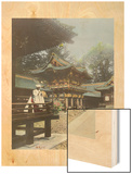 A Robed Man Stands on the Balcony of a Japanese Temple Wood Print by David Robertson