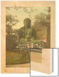 Japanese People Worship at a Giant Bronze Statue of the Great Buddha Wood Print by Tamotsu Enami