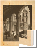 Locals in Square Outside of an Old Cathedral in Havana Wood Print by Unknown Unknown