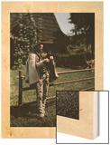 A Man Plays a Bag Pipe Wood Print by Hans Hildenbrand