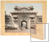 Pedestrians Exit Through One of the Stuccoed Towered Gates of Jaipur Wood Print by Unknown Unknown