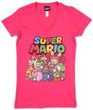 Juniors: Super Mario- Group Shot V-neck Koszulki