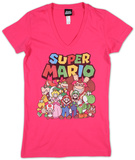Juniors: Super Mario- Group Shot V-neck Shirts