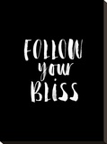 Follow Your Bliss BLK Stretched Canvas Print by Brett Wilson