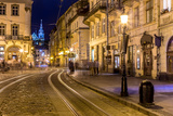 Rynok Square in Lviv at Night Photographic Print by  bloodua