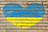 Heart Shape Flag of Ukraine on Brick Wall Photographic Print by  vepar5