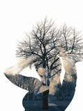Collage of the Woman and Tree Fotodruck von  metrs