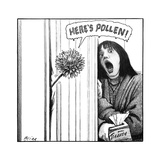 "A Dandelion pokes into a door, in  a parody of ""Here's Jonny"" scene from T... - New Yorker Cartoon Premium Giclee Print by Harry Bliss"