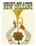 New Orleans - Jazz Trumpet Player - United Air Lines Giclee Print