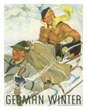 German Winter - Couple Sledding Wydruk giclee autor Kurt Heiligenstaedt