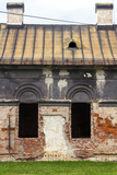 Facade of Old Abandoned House with Dark Windows in Slovakia Photographic Print by  alexabelov