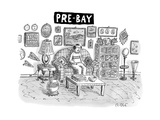 Pre-Bay -- a man sits in living room full of ktizchy knick-knacks and junk - New Yorker Cartoon Premium Giclee Print by Roz Chast