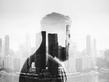 BW Double Exposure of Young Man Photographic Print by  pinkypills