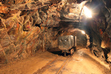 Underground Train in Mine, Carts in Gold, Silver and Copper Mine Photographic Print by  TTstudio