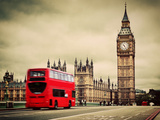 London, the Uk. Red Bus in Motion and Big Ben, the Palace of Westminster. the Icons of England in V Photographic Print by PHOTOCREO Michal Bednarek