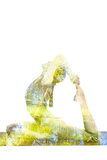 Nature Harmony Healthy Lifestyle Concept - Double Exposure Image of Woman Doing Yoga Asana King Pig Photographic Print by  f9photos