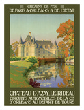 Château d'Azay-le-Rideau - Loire Valley, France - (Railways of Paris to Orléans & The State) Giclee Print by Léon Constant-Duval