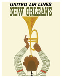 New Orleans - Jazz Trumpet Player - United Air Lines - Giclee Baskı