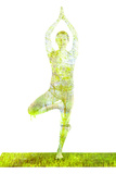 Nature Harmony Healthy Lifestyle Concept - Double Exposure Image of Woman Doing Yoga Tree Pose Asan Photographic Print by  f9photos