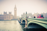 Big Ben and Westminster Bridge at Foogy Morning in London Photographic Print by  sborisov