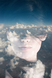 Dream like Surreal Double Exposure Portrait of Attractive Lady Combined with Aerial View Photograph Photographic Print by Victor Tongdee