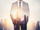 Double Exposure of Businessman and City Photographic Print by  pinkypills
