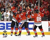 Duncan Keith, Brandon Saad, Patrick Kane Celebrate Goal Game 6 of the 2015 Stanley Cup Finals Photo