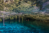 Snorkeling Cenote Cavern at Tulum. Cancun. Traveling through Mexico. Photographic Print by  diegocardini