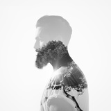 B/W Double Exposure Portrait of A Bearded Guy and Tree Photographic Print by  pinkypills