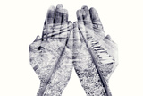 Double Exposure of the Palms of a Man Put Together and a Railway, in Black and White Photographic Print by  nito