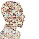 Man People Collage Faces Double Exposure Photographic Print by  zurijeta