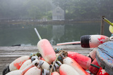 Lobster Trap Buoys and Distant Bdoathouse in Fog, New Harbor, Maine, USA Photographic Print by Lynn M. Stone