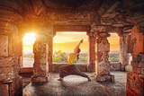 Yoga in Hampi Temple Photographic Print by Marina Pissarova