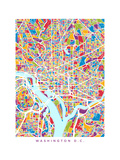 Washington DC City Street Map Photographic Print by Michael Tompsett