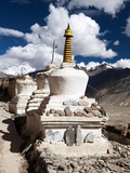 Stupas with Beautiful Clouds in Karsha Gompa Photographic Print by Daniel Prudek