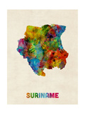 Suriname Watercolor Map Photographic Print by Michael Tompsett