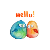 2 Birds. Hello. Watercolor Prints by  wegener17