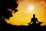 Yoga Meditation Silhouette Papier Photo par Marina Pissarova