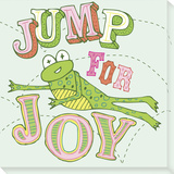 Frog - Jump For Joy Stretched Canvas Print by  Skelley