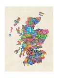 Scotland Typography Text Map Photographic Print by Michael Tompsett