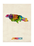 Jamaica Watercolor Map Photographic Print by Michael Tompsett