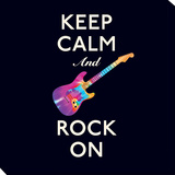 Keep Calm and Rock On Stretched Canvas Print by  Graphique