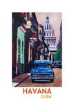 Poster Havana Cuba Street Scene Oldtimer Retro Giclee Print by Markus Bleichner